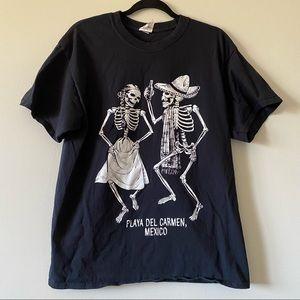 Graphic Black T Shirt Playa Del Carmen Mexico Dancing Skeletons Beer Medium